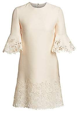Valentino Women's Wool & Silk Flutter Sleeve Lace Dress