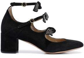 Chloé Mike Studded Bow-embellished Suede Mary Jane Pumps