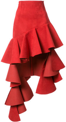 asymmetric ruffled trim skirt