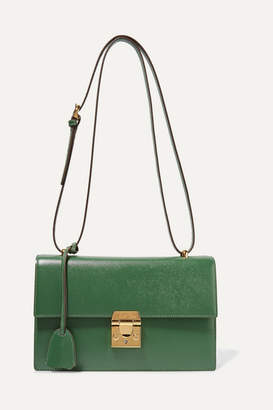 Mark Cross Downtown Textured-leather Shoulder Bag - Dark green