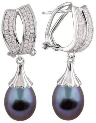 Splendid Pearls 9-10mm Tahitian Pearl Drop Earrings