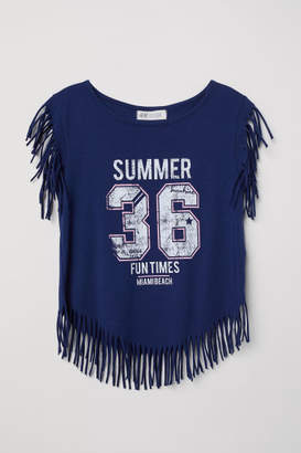 H&M Top with Fringe - Blue