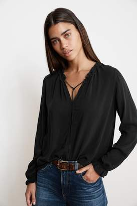 Velvet by Graham & Spencer SAMANTHA RAYON CHALLIS PEASANT TIE TOP