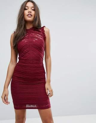 Lipsy Lace Ruffle Mini Dress