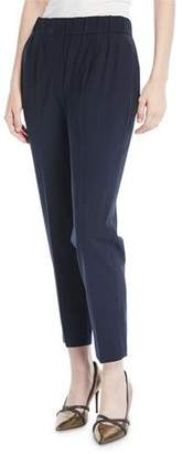 Brunello Cucinelli Lightweight Wool Tapered-Leg Pull-On Pants w/ Monili Trim