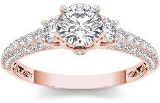 Imperial Diamond Imperial 1-1/2 Carat T.W. Diamond Three-Stone Engagement Ring in 14kt Rose Gold