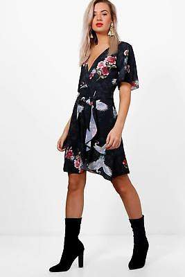 boohoo NEW Womens Oriental Bird Print Ruffle Tea Dress in Polyester 3% Elastane