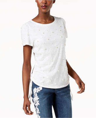 INC International Concepts I.N.C. Cotton Pearl Stud T-Shirt, Created for Macy's