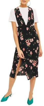 Topshop Posy Pinafore Midi Dress