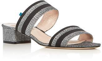 Sarah Jessica Parker Bloom Glitter Low Heel Slide Sandals