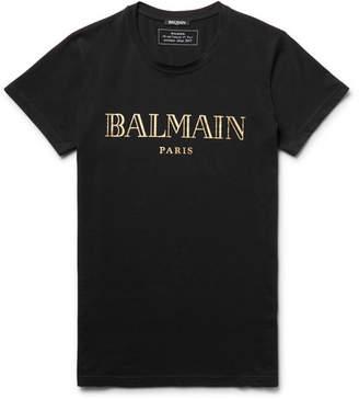 Balmain Printed Cotton-Jersey T-Shirt $255 thestylecure.com