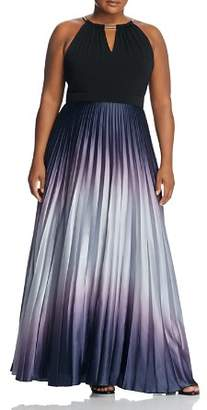 City Chic Plus Pleated Ombré Maxi Dress