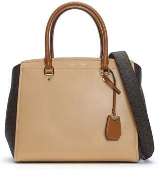 Michael Kors Large Benning Brown & Acorn Leather Logo Satchel Bag