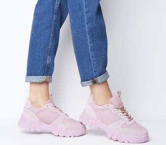 Office Fast Pace Chunky Lace Up Trainers Pink