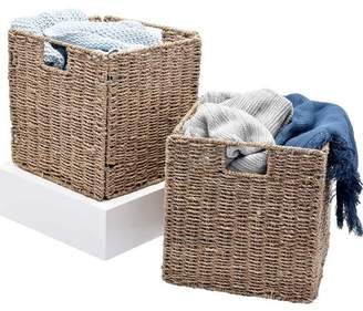 """Storageworks StorageWorks Foldable Seagrass Storage Basket with Iron Wire Frame, Natural Decorative Handmade Woven Wicker Storage Baskets, 11.8""""x11.8""""x11.8"""", 2-Pack, Extra - Gift Lining"""