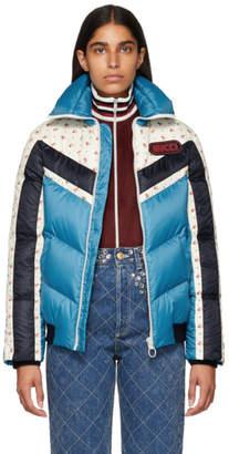 Gucci Blue Floral Stripe Down Jacket