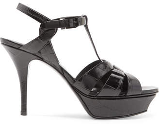 Saint Laurent Tribute Croc-effect Leather Platform Sandals - Black