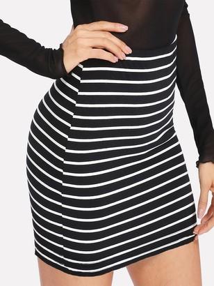 Shein Elastic Waist Striped Skirt