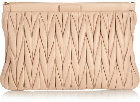 Miu Miu Matelassé leather clutch