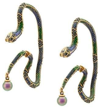 Roberto Cavalli enamelled snake earrings