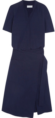 DKNY - Cotton Wrap Dress - Midnight blue $300 thestylecure.com
