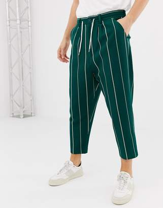 Asos Design DESIGN drop crotch tapered smart pants in green stripe waffle