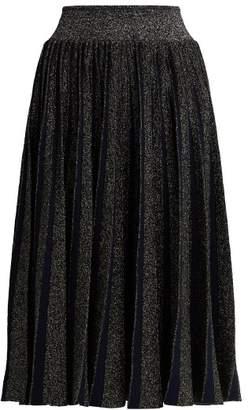 Sportmax Pleated Metallic Midi Skirt - Womens - Navy Multi