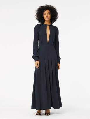 Oscar de la Renta Cutout Stretch-Silk Georgette Tea-Length Dress