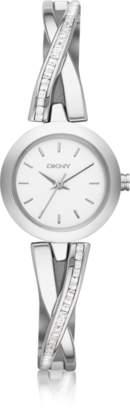 DKNY Crosswalk Round Dial Silver Tone Stainless Steel Women's Watch