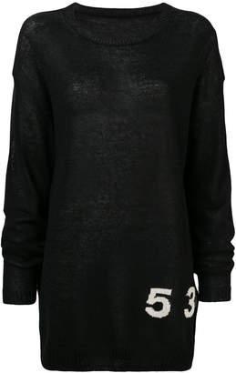 Yohji Yamamoto side printed elongated sweater