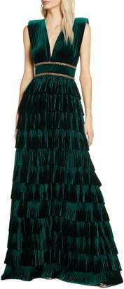 Bronx and Banco Velvet Tiered Evening Gown