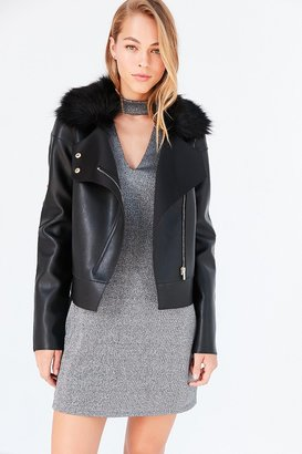 Kimchi Blue Glam Faux Fur Collar Moto Jacket $139 thestylecure.com