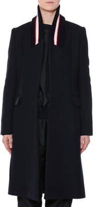 Stella McCartney Single-Breasted Ribbed-Collar Wool Coat