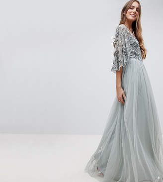 Maya Tall Sequin Cape Tulle Skirt Maxi Bridesmaid Dress