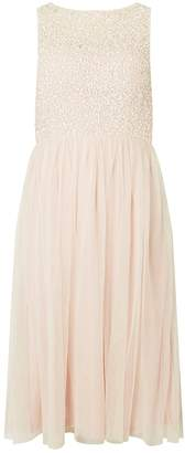 Dorothy Perkins Womens **Showcase Cordelia Blush Sequin Bodice Midi Prom Dress