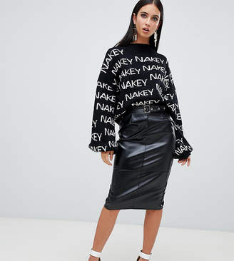 Missguided faux leather midi skirt with buckle detail in black