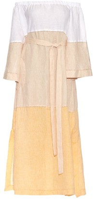 LISA MARIE FERNANDEZ Off-the-shoulder linen dress $899 thestylecure.com