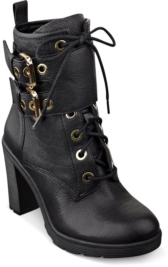 GUESS Women's Finlay High Heel Combat Booties