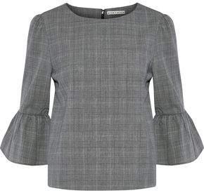 Alice + Olivia Bernice Ruffled Checked Wool-Blend Blouse