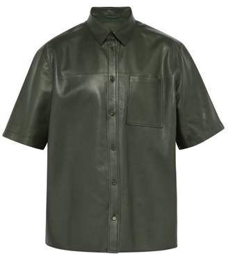 Bottega Veneta Boxy Fit Leather Shirt - Mens - Green