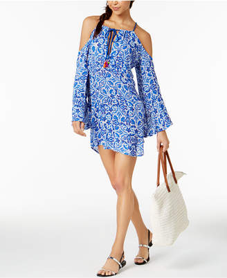 Nanette Lepore Nanette by Talavera Mosaic Printed Cold-Shoulder Tunic Cover Up