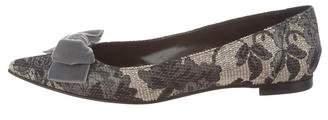 Manolo Blahnik Jacquard Pointed-Toe Flats