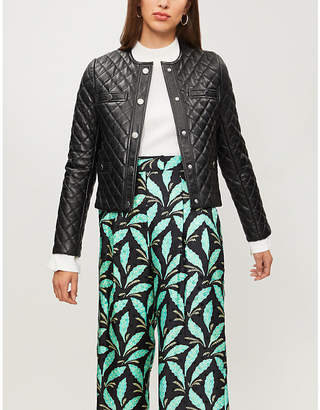 Maje Berya quilted leather jacket