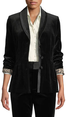 Frame Fitted Velvet Button-Front Blazer Jacket