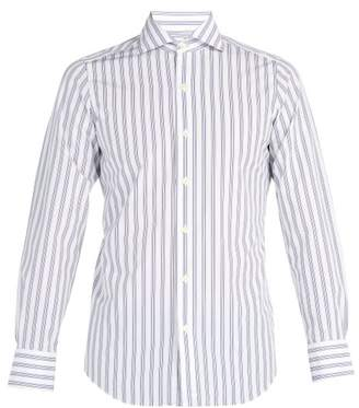 Finamore 1925 - Striped Cotton Shirt - Mens - Blue