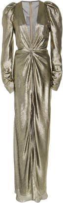 Monique Lhuillier Long Sleeve Silk Lame V-Neck Gown