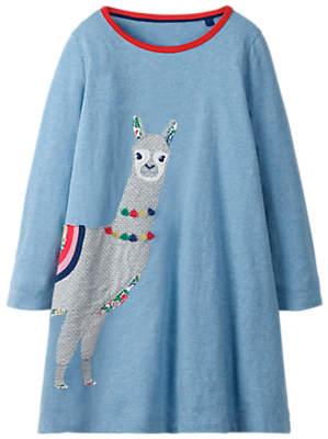 Boden Mini Girls' Lama Applique Dress, Blue