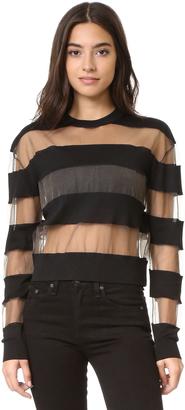 McQ - Alexander McQueen Sheer Stripe Pullover Top $320 thestylecure.com