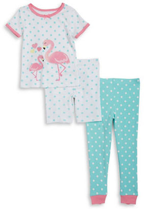 Little Me Baby Girls Flamingo Tee, Shorts and Pants Pajama Set $26 thestylecure.com