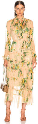 Zimmermann Zippy Necktie Dress in Peach Garden Floral | FWRD